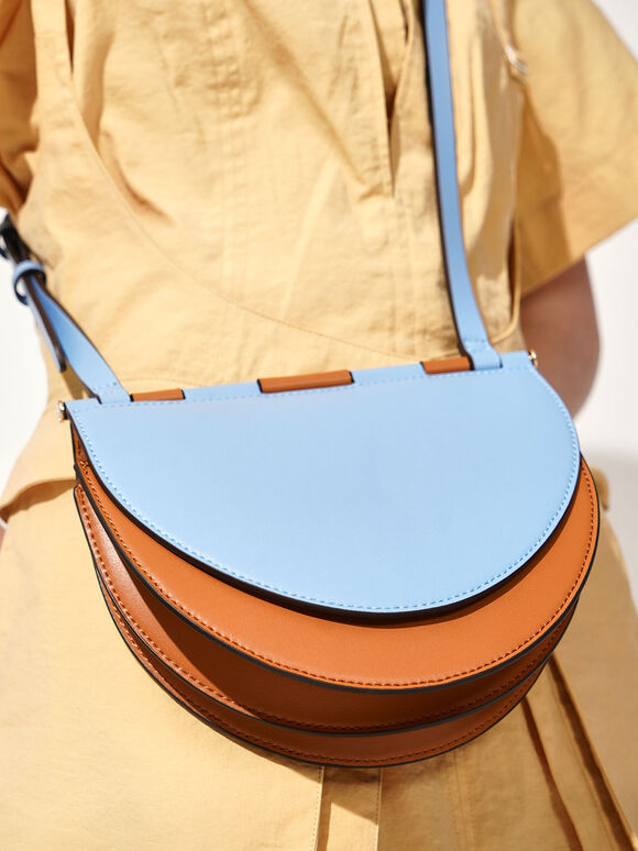 Two-Tone Semi-Circle Crossbody Bag, Denim Blue, hi-res