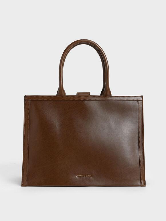 Extra Large Tote Bag, Dark Brown, hi-res