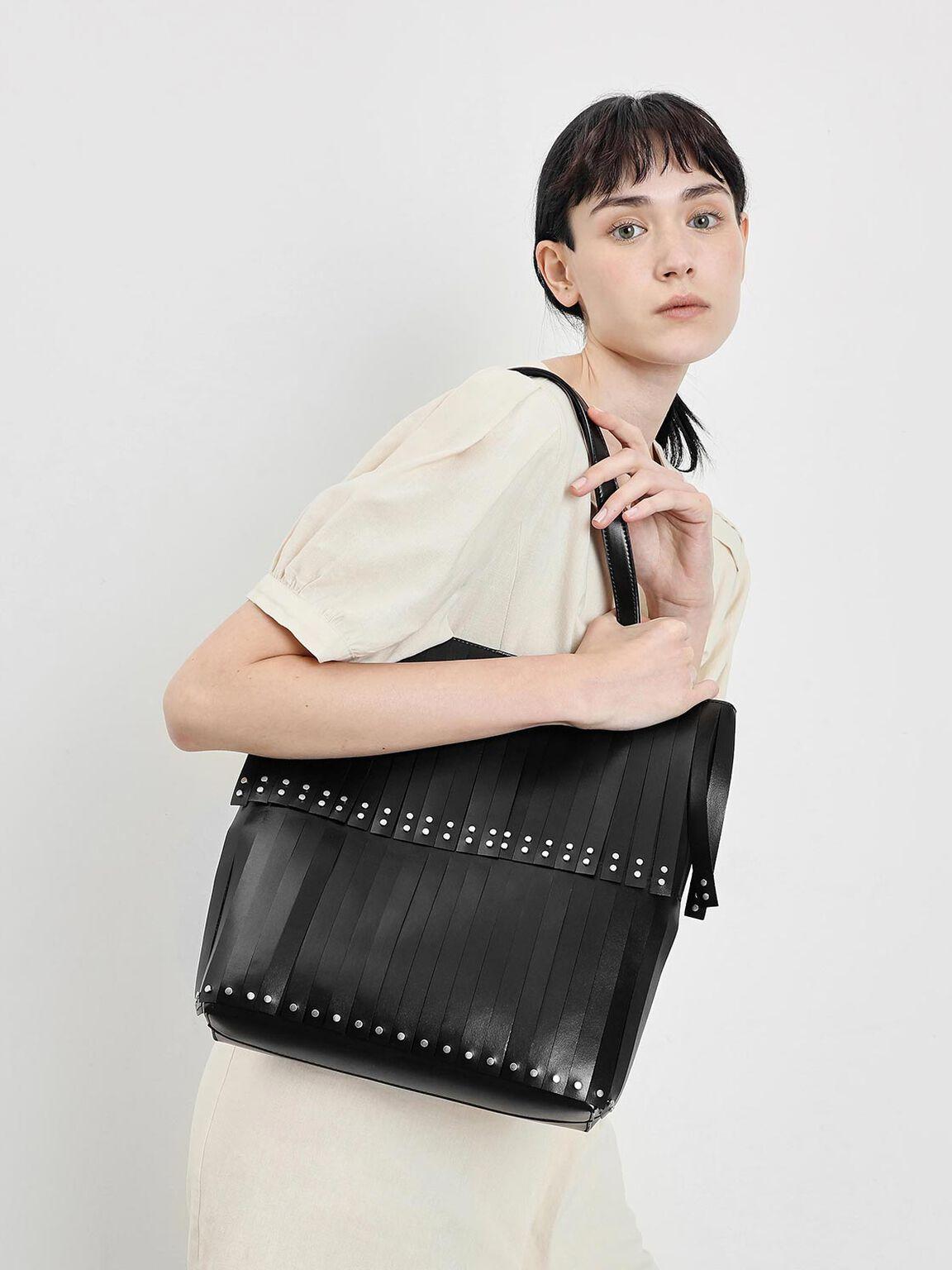Full Fringe Tote Bag, Black, hi-res