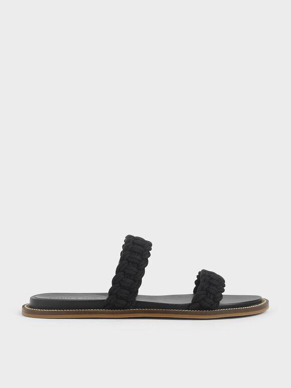 Rope Slide Sandals, Black, hi-res