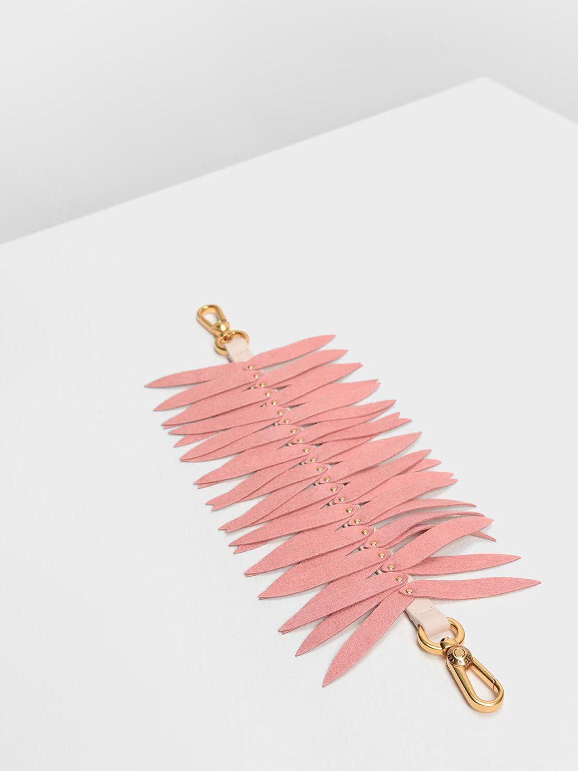 Flare Fringe Mini Bag Strap, Pink, hi-res