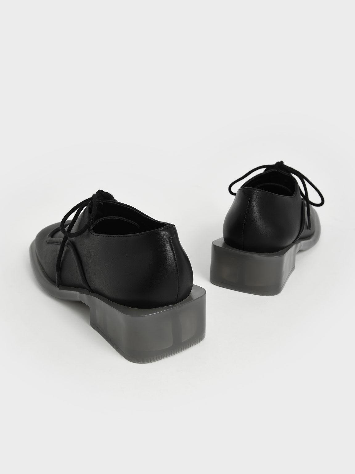 Fleur Leather Brogues, Black, hi-res
