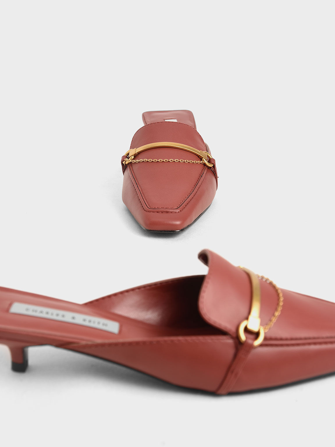 Metallic Accent Loafer Mules, Red, hi-res