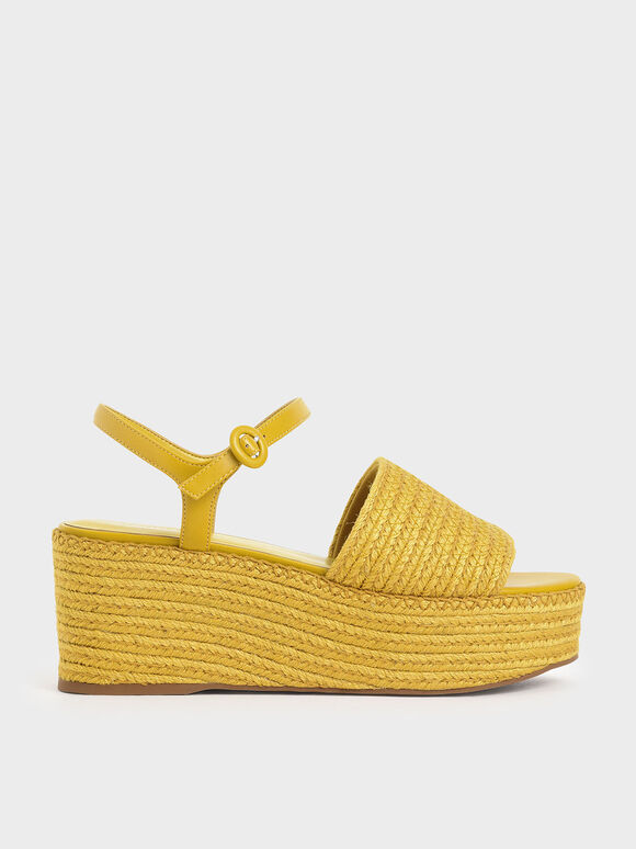 Espadrille Platform Sandals, Yellow, hi-res