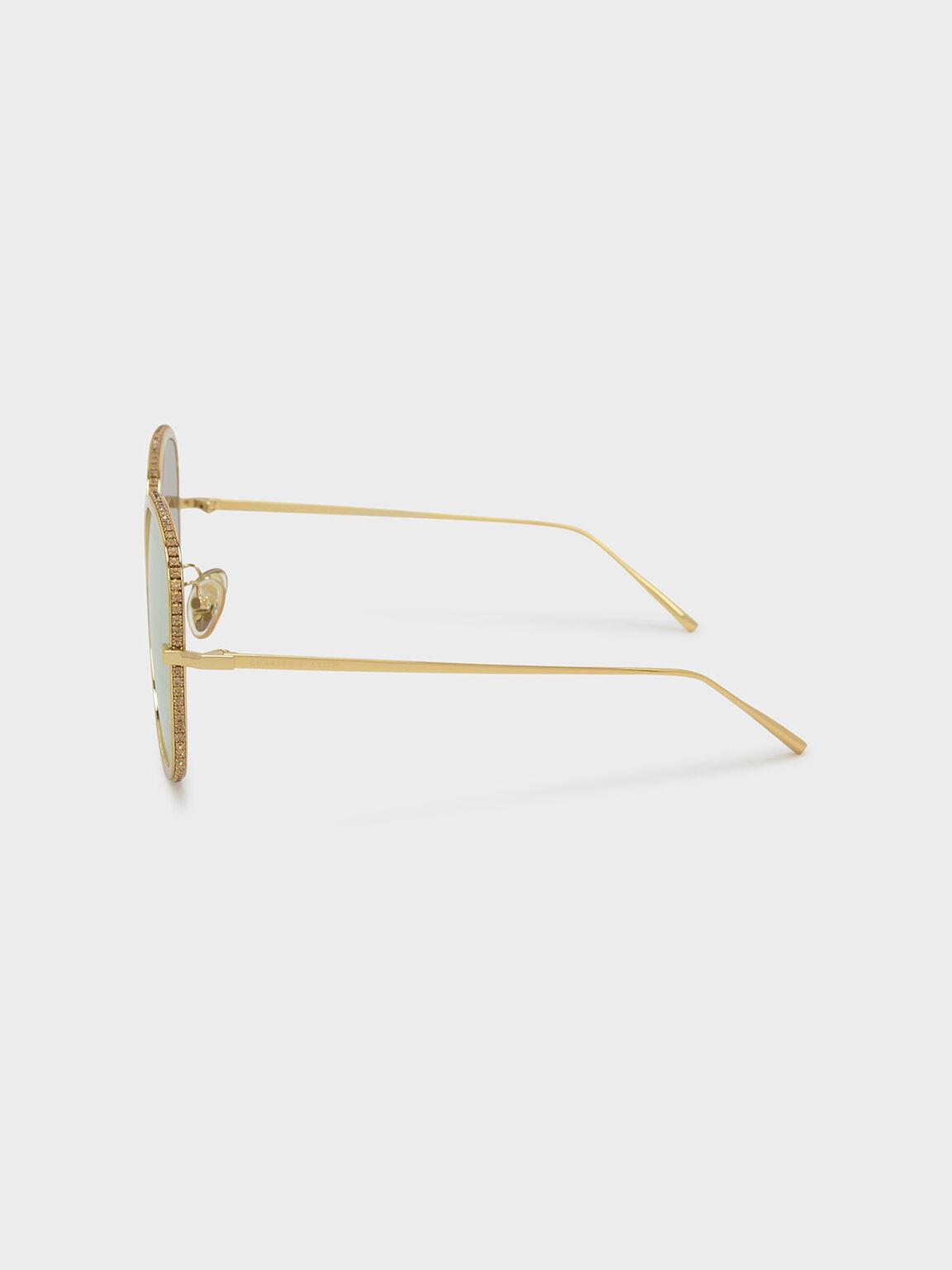 Embellished Sunglasses, Gold, hi-res