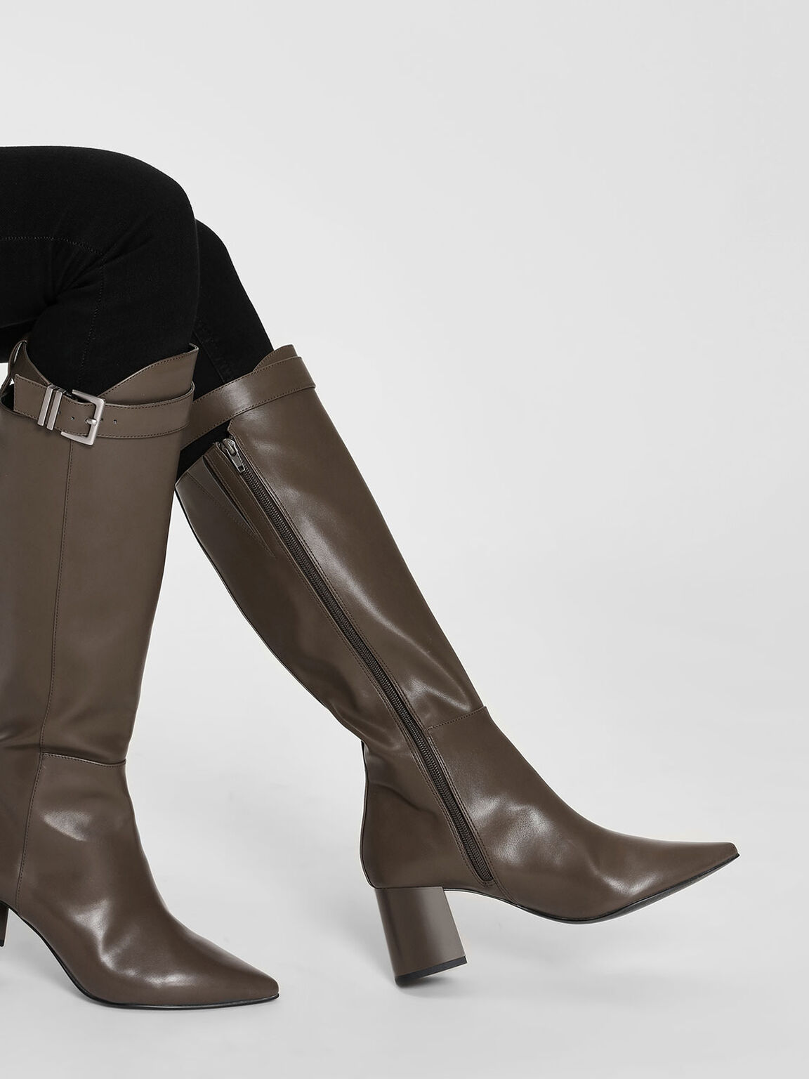 Buckled Strap Detail Knee High Boots, Military Green, hi-res