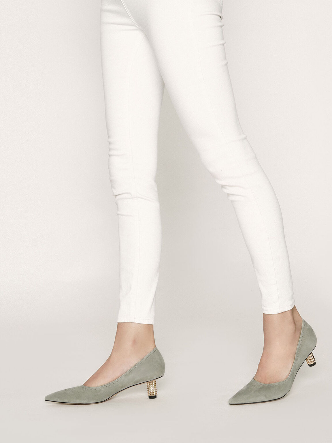 Embellished Kitten Heel Pumps (Kid Suede), Sage Green, hi-res