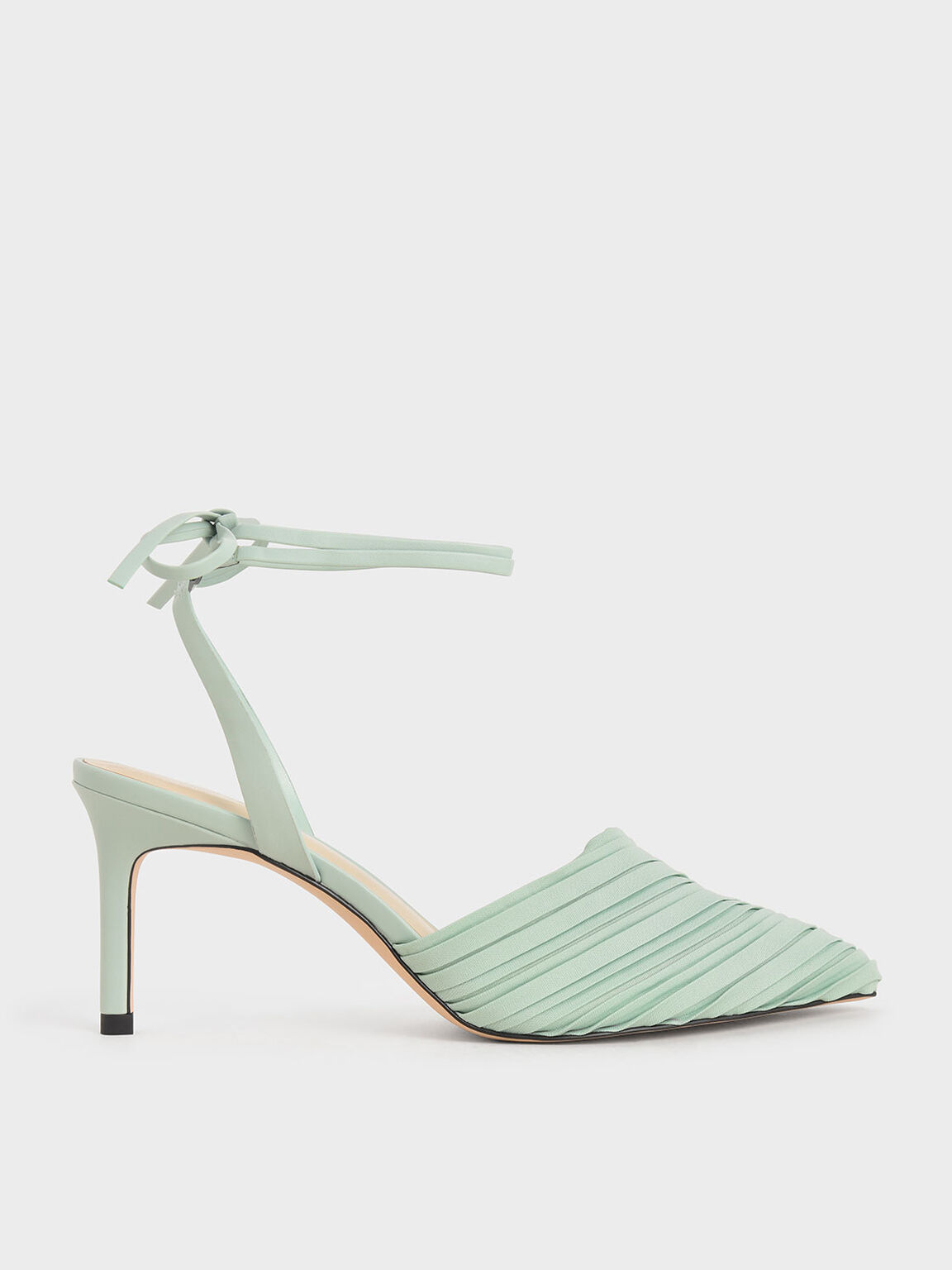 Pleated Ankle-Tie Stiletto Pumps, Mint Green, hi-res
