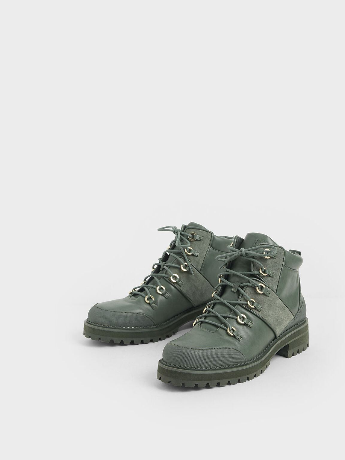 Lace-Up Hiking Boots, Green, hi-res