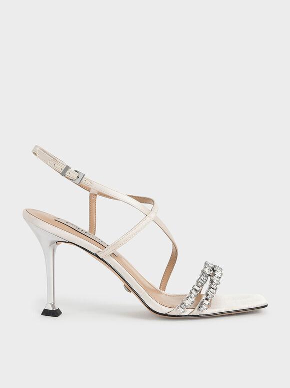 Wedding Collection: Satin Gem-Embellished Asymmetric Sandals, Cream, hi-res