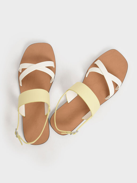 Two-Tone Thick Strap Flats, Yellow, hi-res