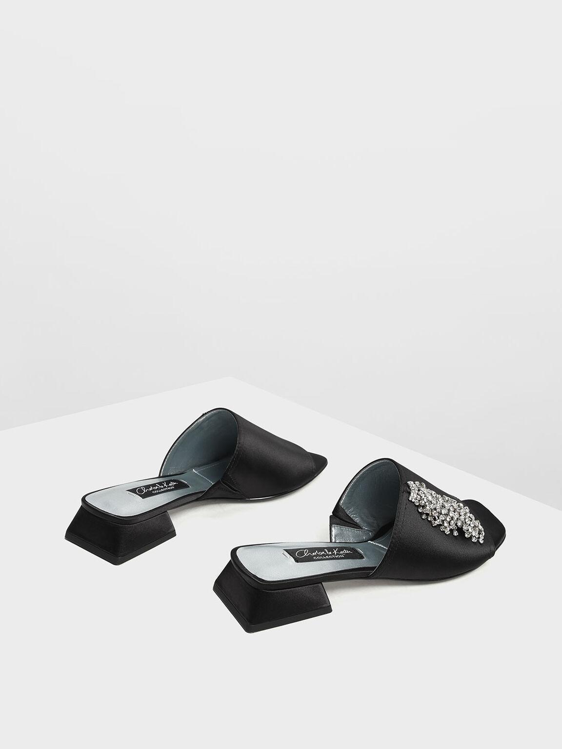 Satin Embellished Slide Sandals, Black, hi-res