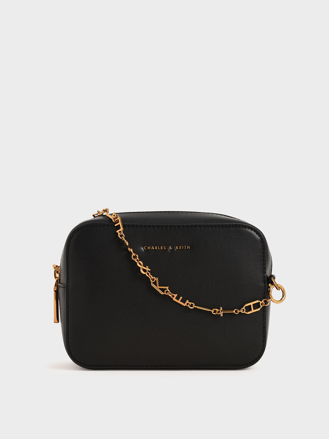 Chain-Link Rectangular Bag, Black, hi-res