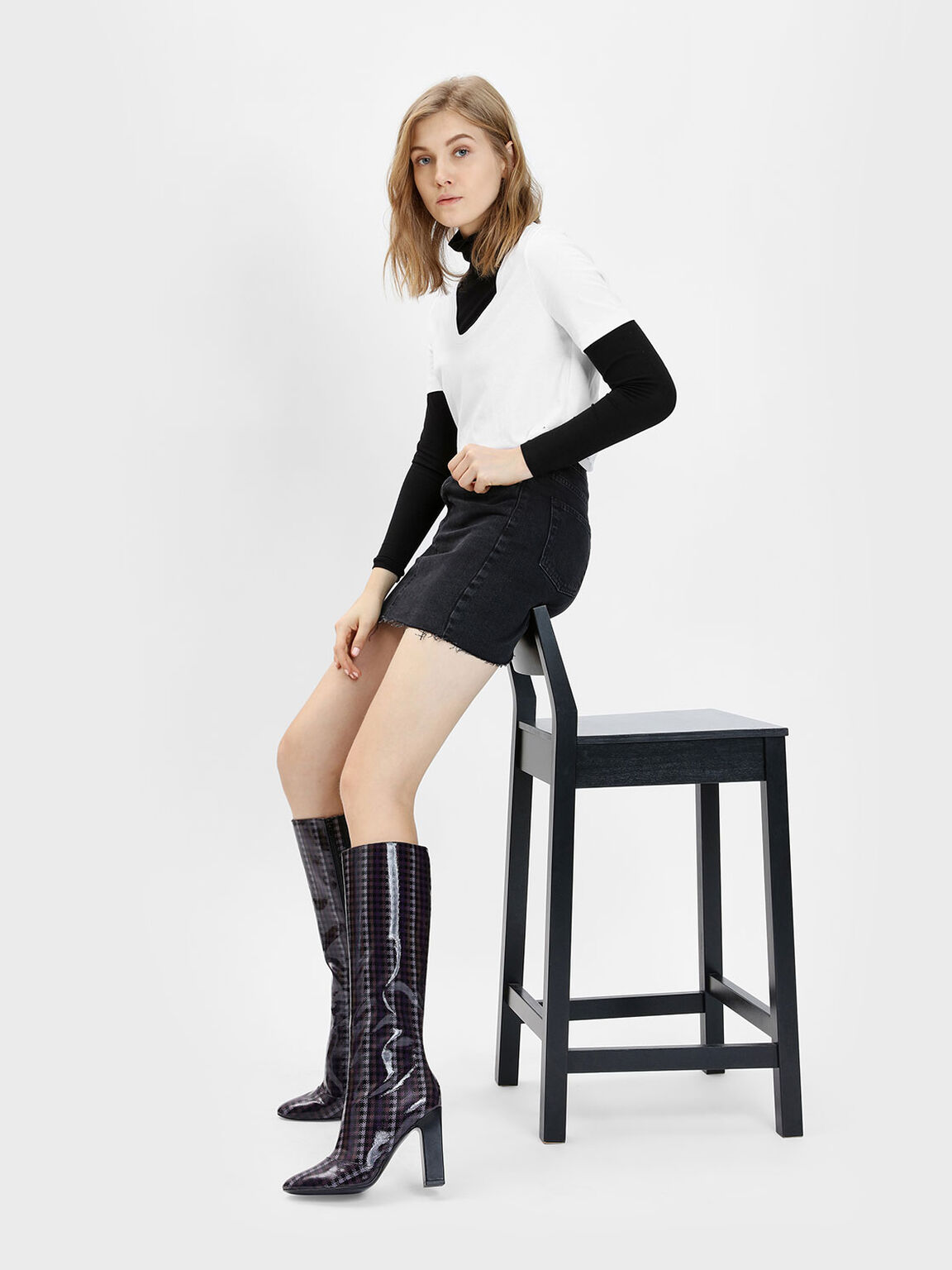 Classic Knee Boots, Purple, hi-res