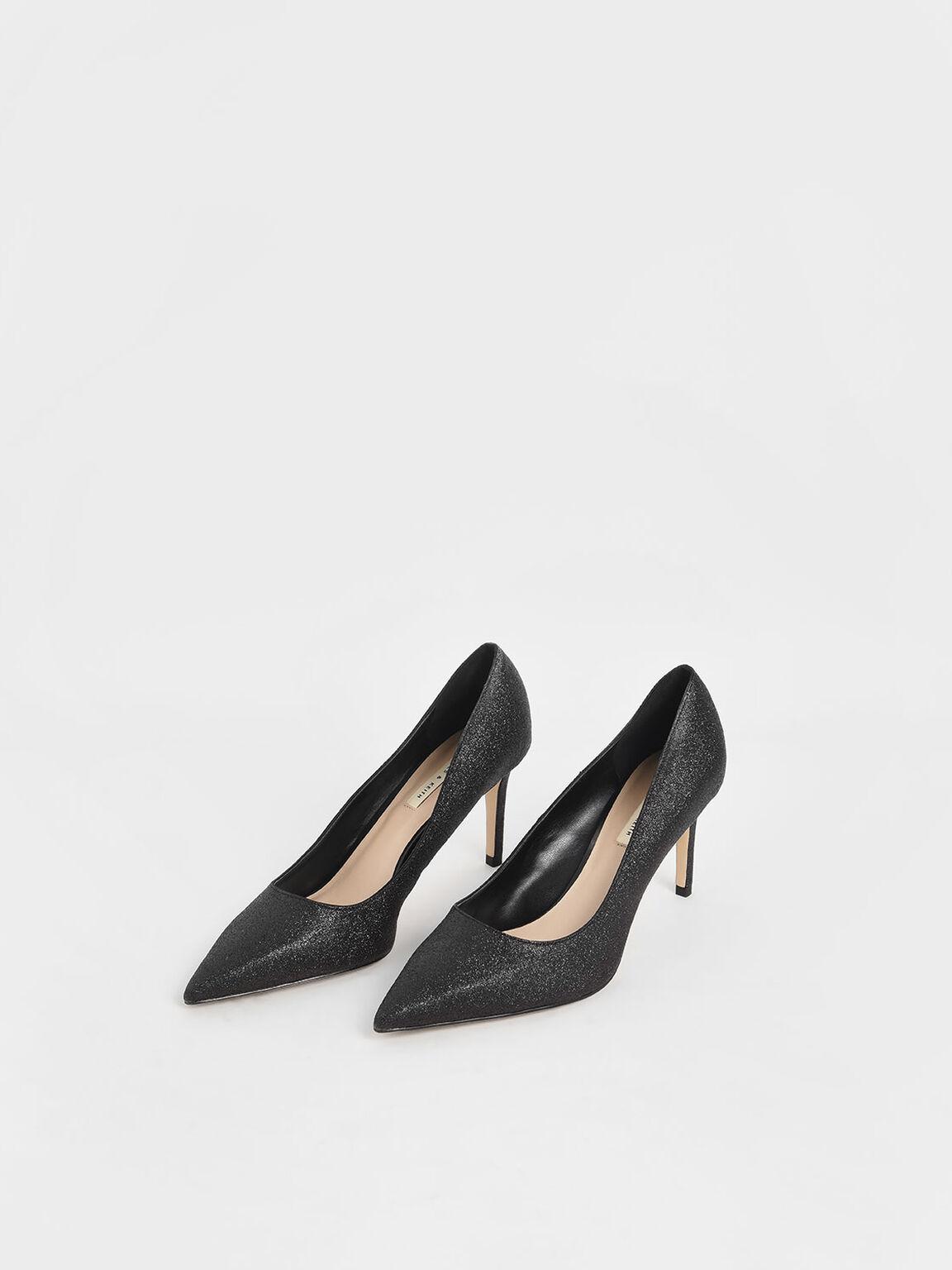 Glitter Stiletto Heel Pumps, Black, hi-res