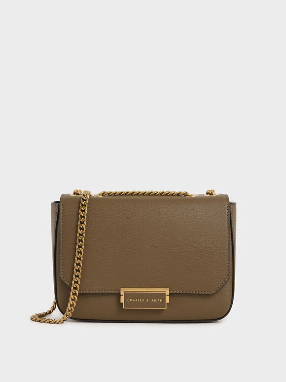 Double Chain Link Crossbody Bag, Khaki, hi-res