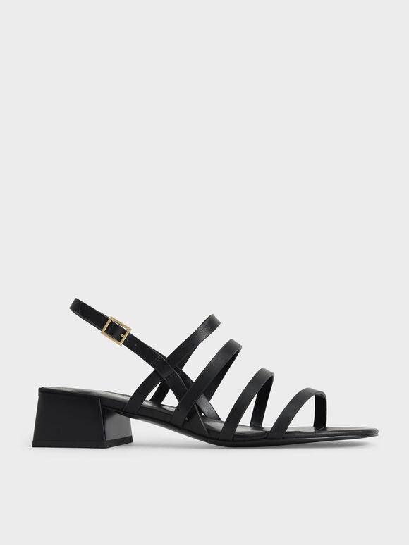 Strappy Geometric Slingback Sandals, Black, hi-res