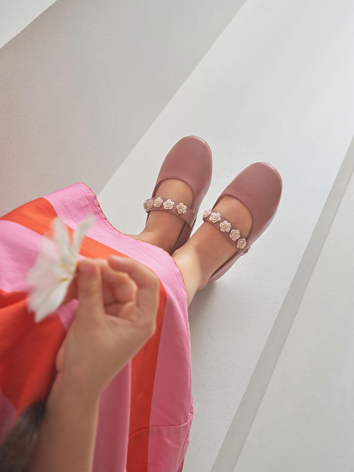 Girls' Flower-Embellished Mary Janes, Pink, hi-res