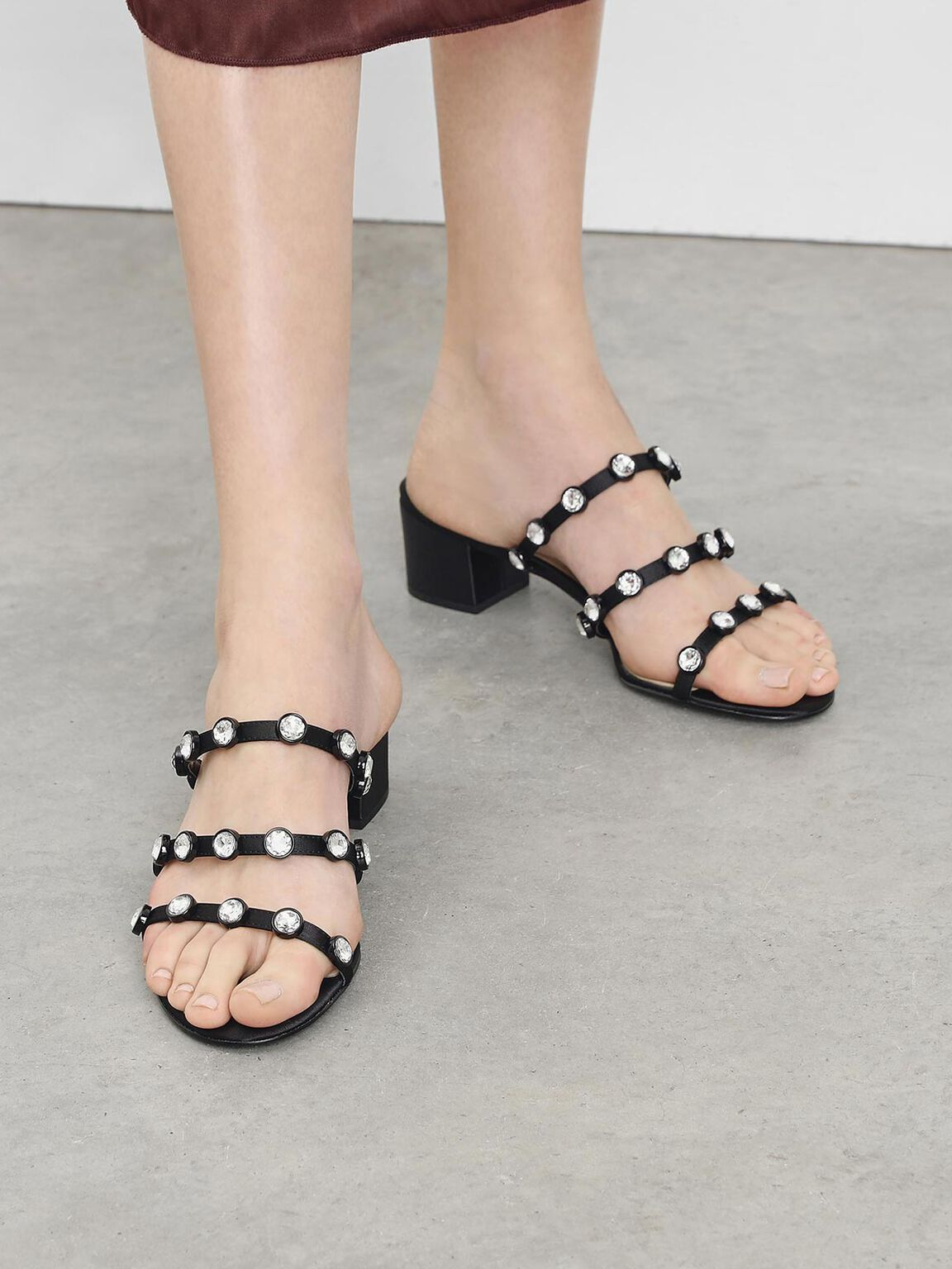 Embellished Strappy Slide Sandals, Black, hi-res