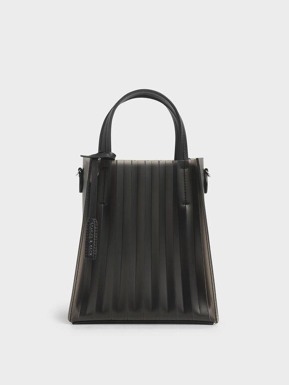Translucent Pleated Tote Bag, Black, hi-res