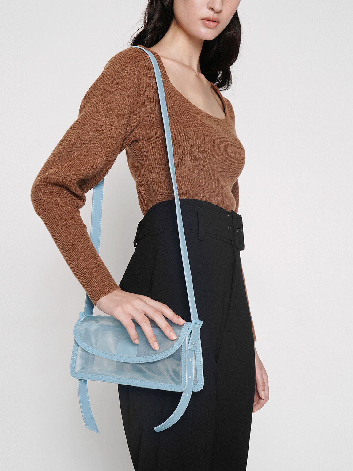 Mesh Shoulder Bag, Blue, hi-res