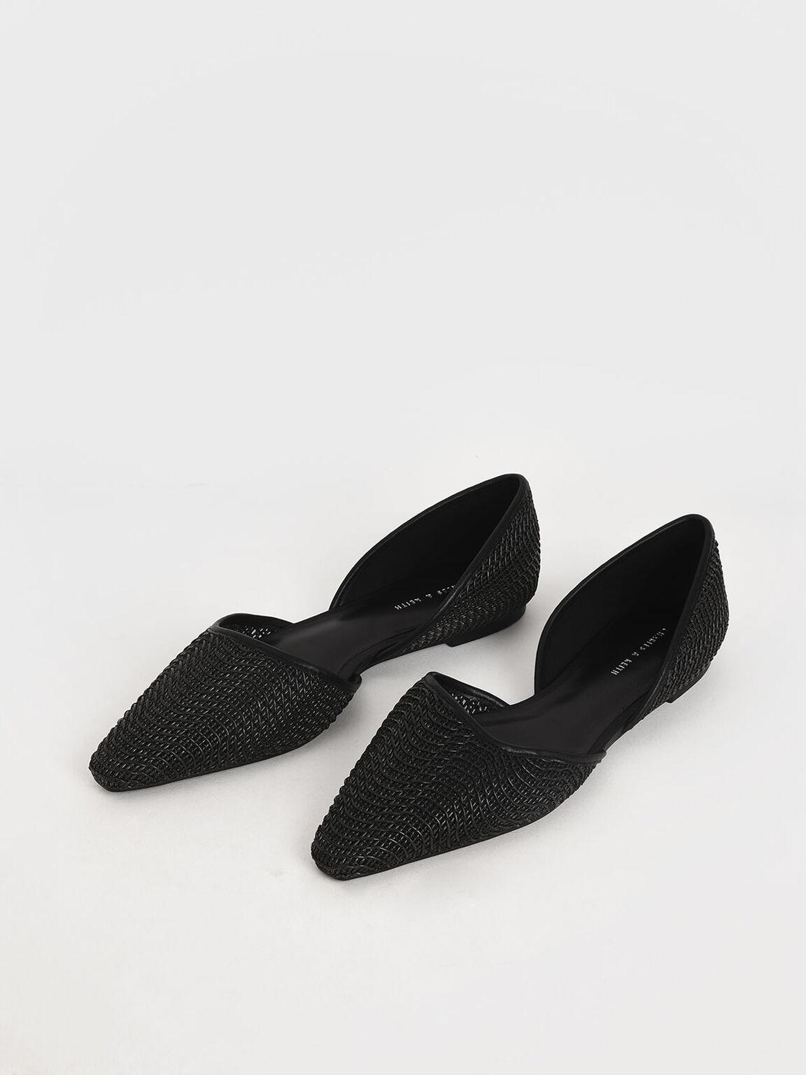 Woven D'Orsay Flats, Black, hi-res