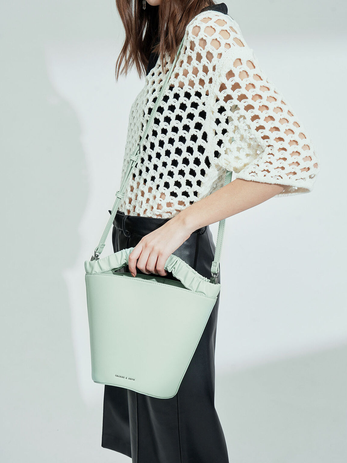 Pleated Handle Bucket Bag, Mint Green, hi-res