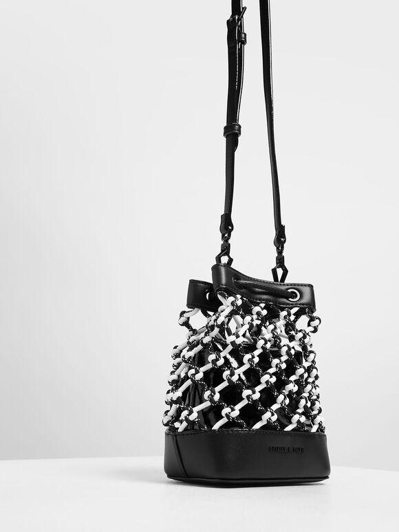 Netted Drawstring Bucket Bag, Black, hi-res