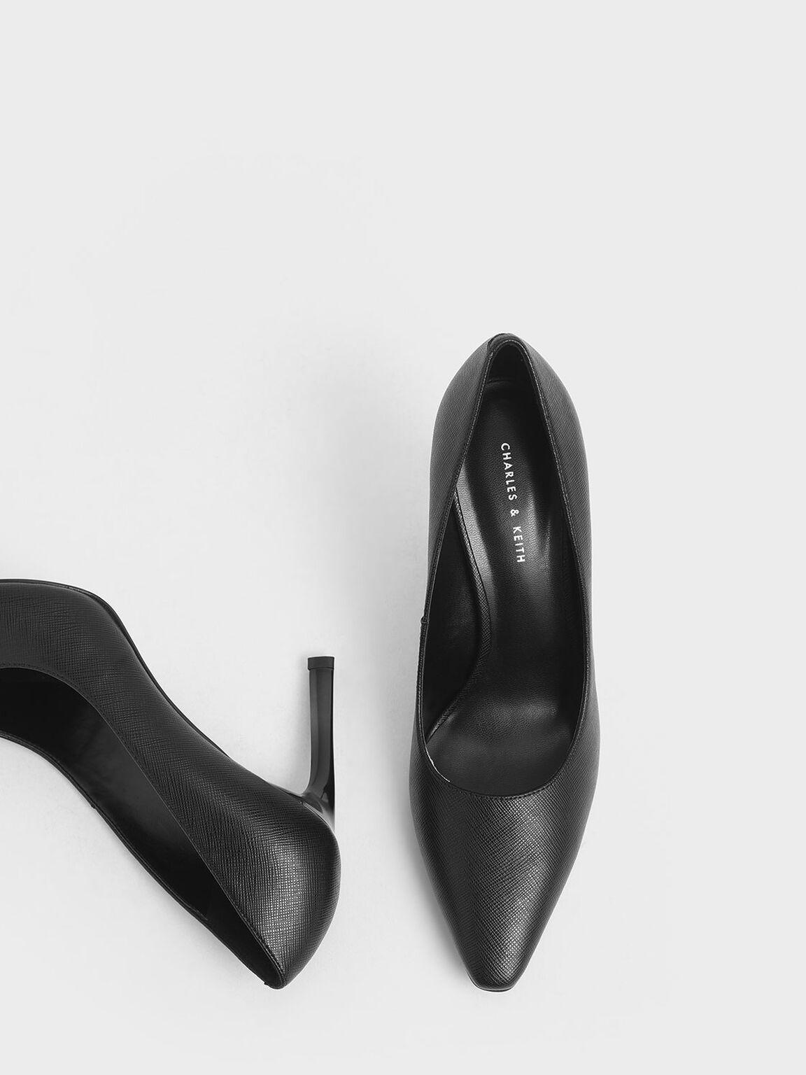 Sculptural Stiletto Pumps, Black, hi-res