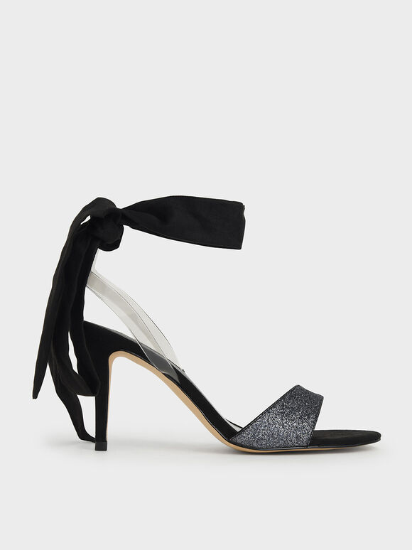 Glitter Ribbon Ankle-Tie Sandals, Black, hi-res