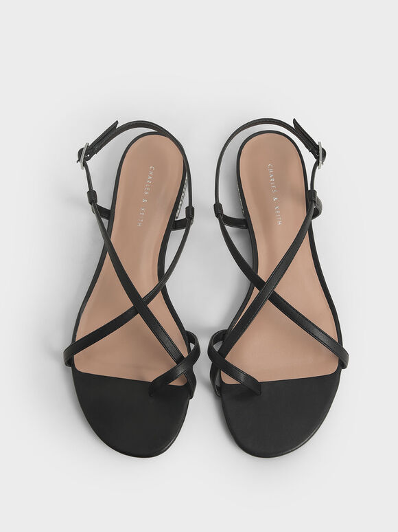 Toe Loop Strappy Sandals, Black, hi-res