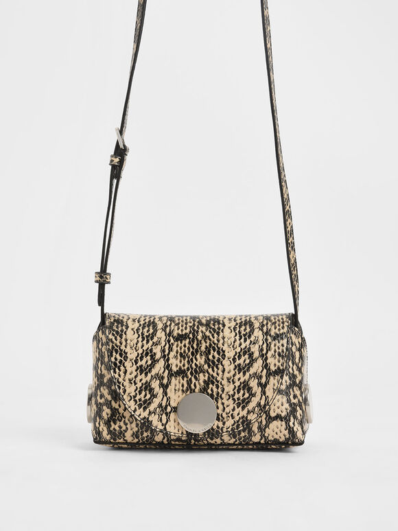 Snake Print Metal Accent Mini Crossbody Bag, Beige, hi-res
