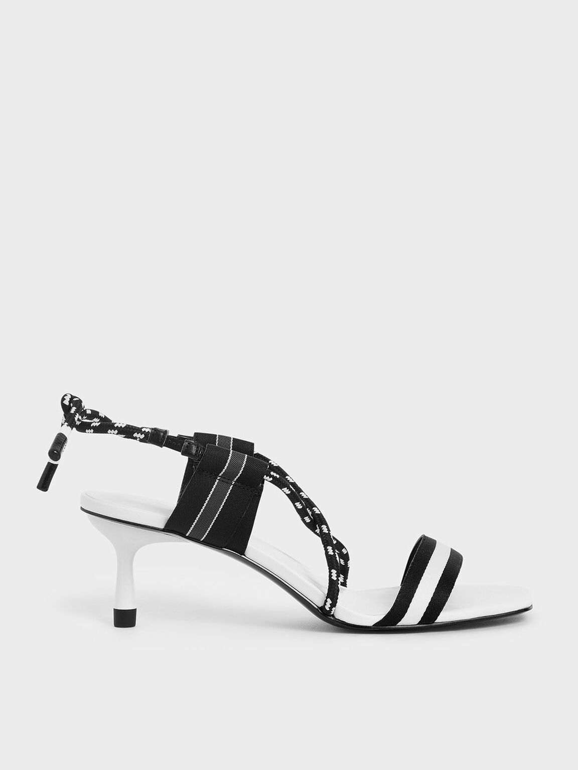 Two-Tone Grosgrain & Rope Strappy Sandals, White, hi-res