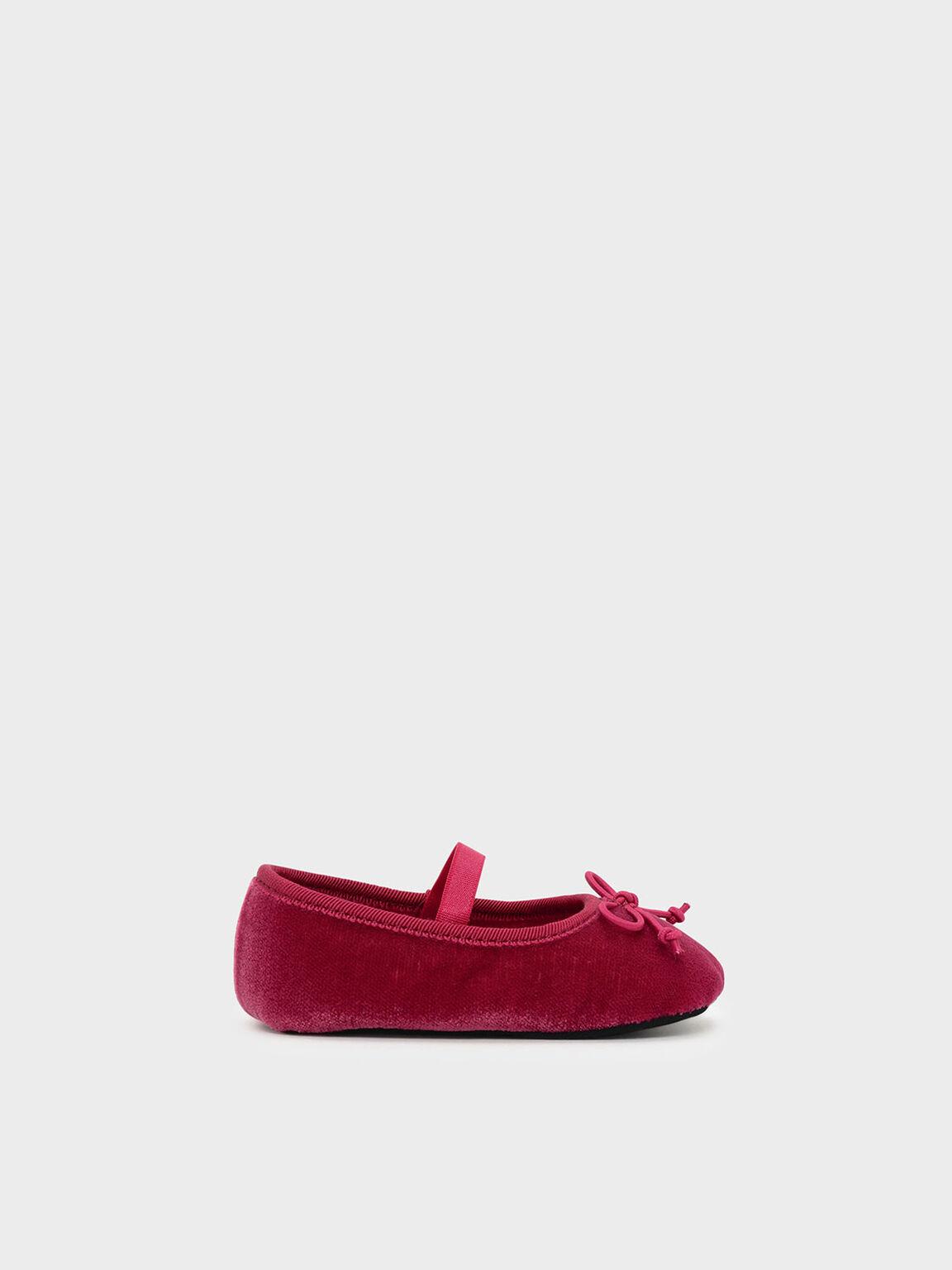 Kids Bow Detail Ballerinas, Pink, hi-res