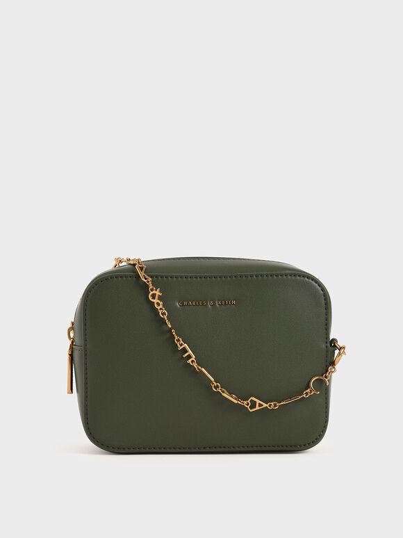 Chain-Link Rectangular Bag, Green, hi-res