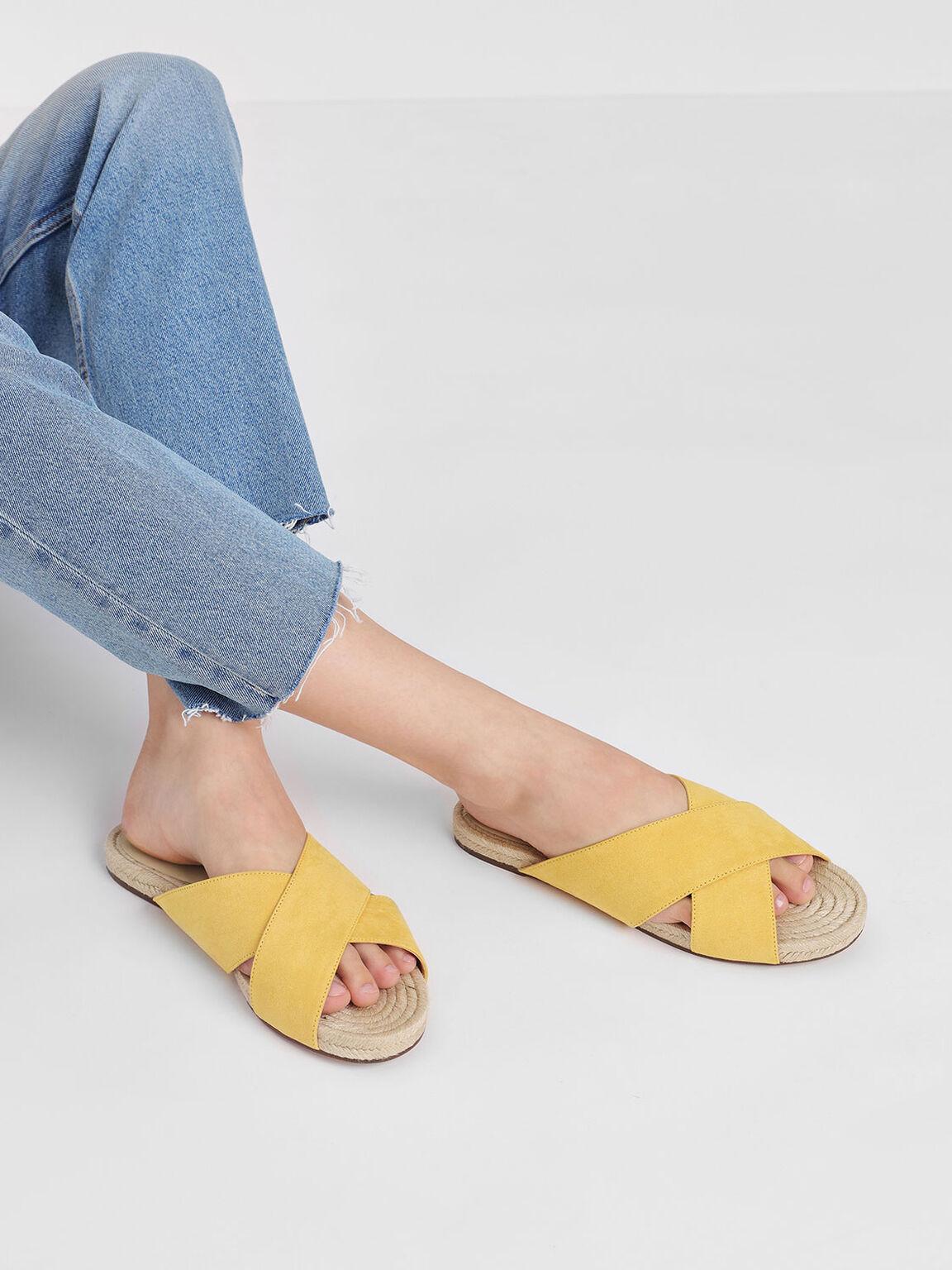 Criss Cross Slide Sandals, Yellow, hi-res