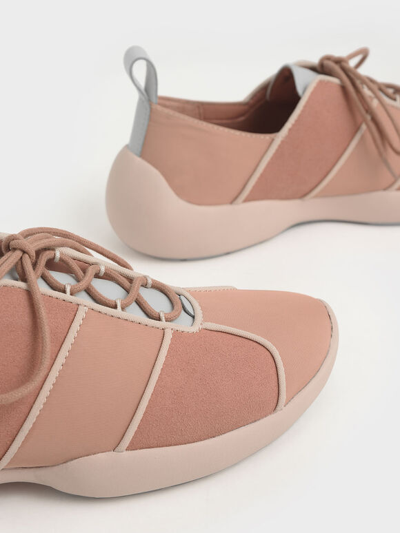 Nylon & Microsuede Lace-Up Sneakers, Nude, hi-res