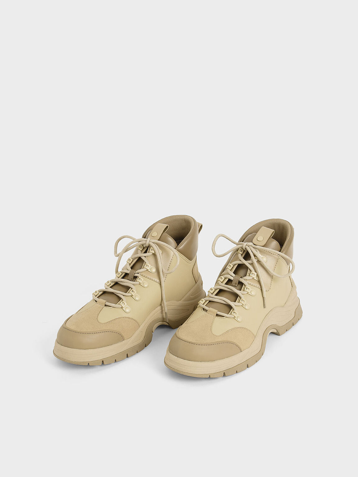 Textured High Top Trainers, Beige, hi-res