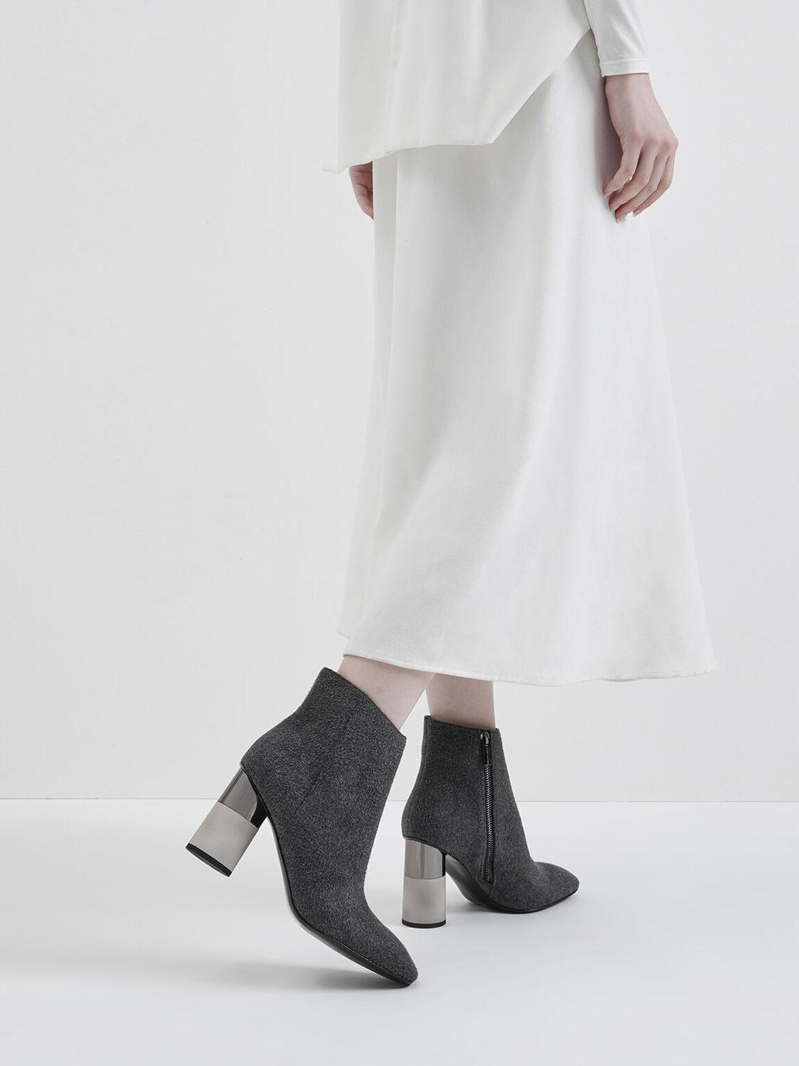 Concrete Heel Felt Ankle Boots, Dark Grey, hi-res