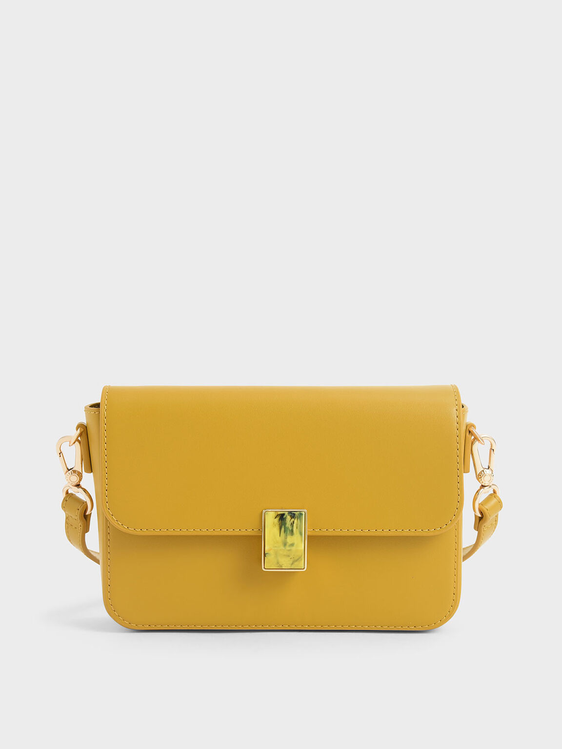 Leather Embellished Push-Lock Crossbody Bag, Yellow, hi-res