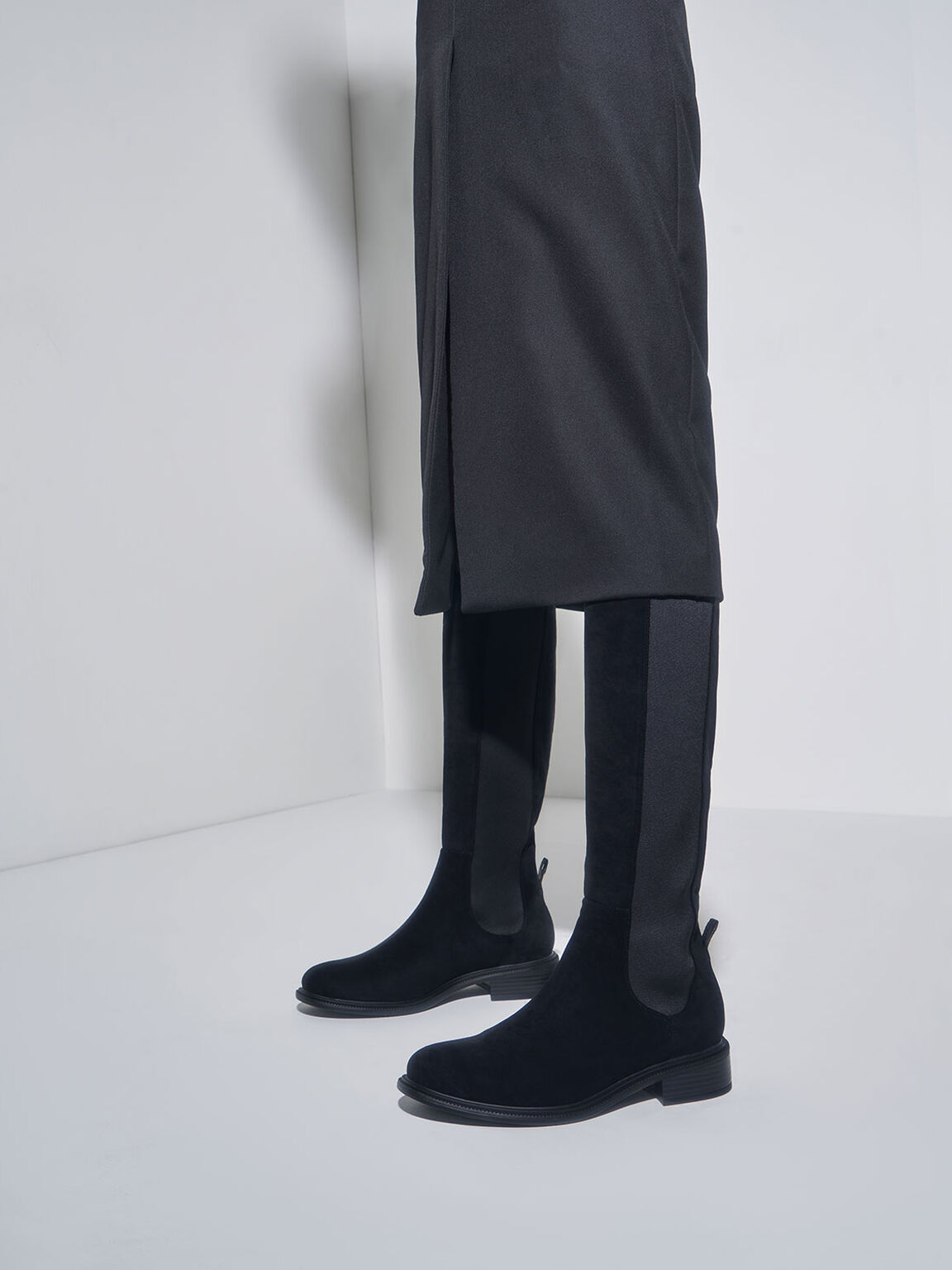 Knee High Chelsea Boots, Black Textured, hi-res