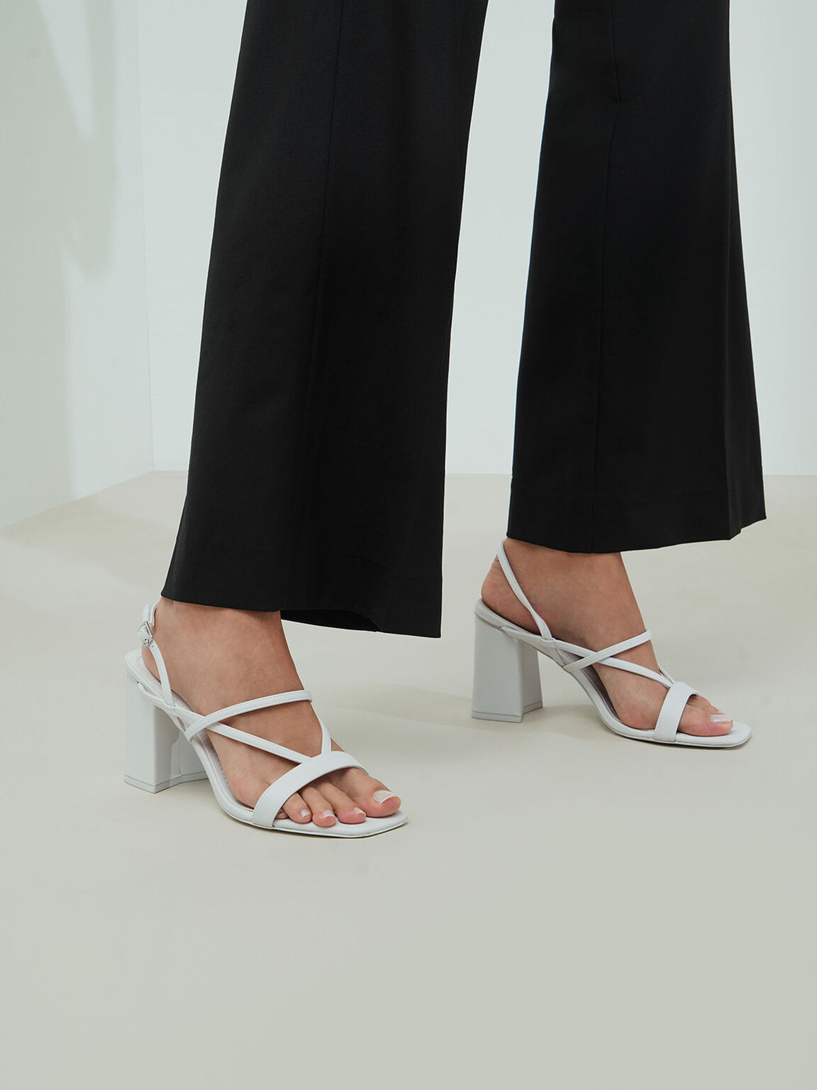 Strappy Chunky Heel Sandals, White, hi-res