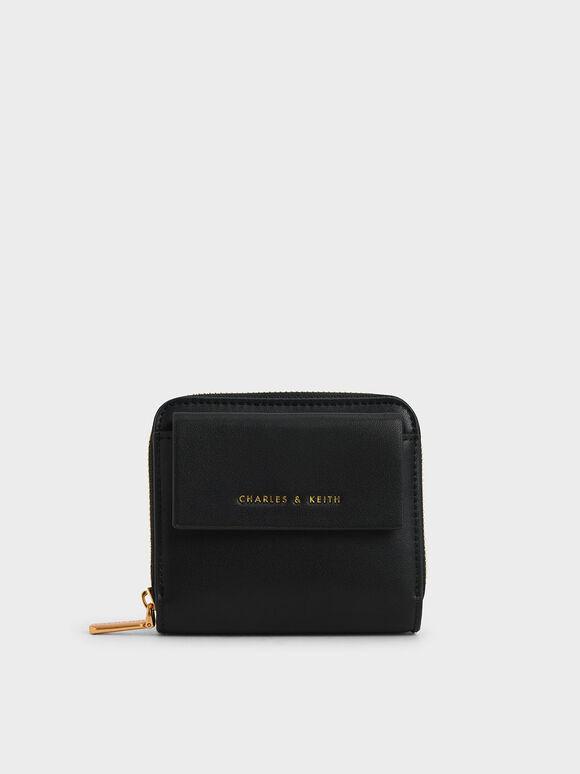 Front Flap Zip-Around Mini Wallet, Black, hi-res