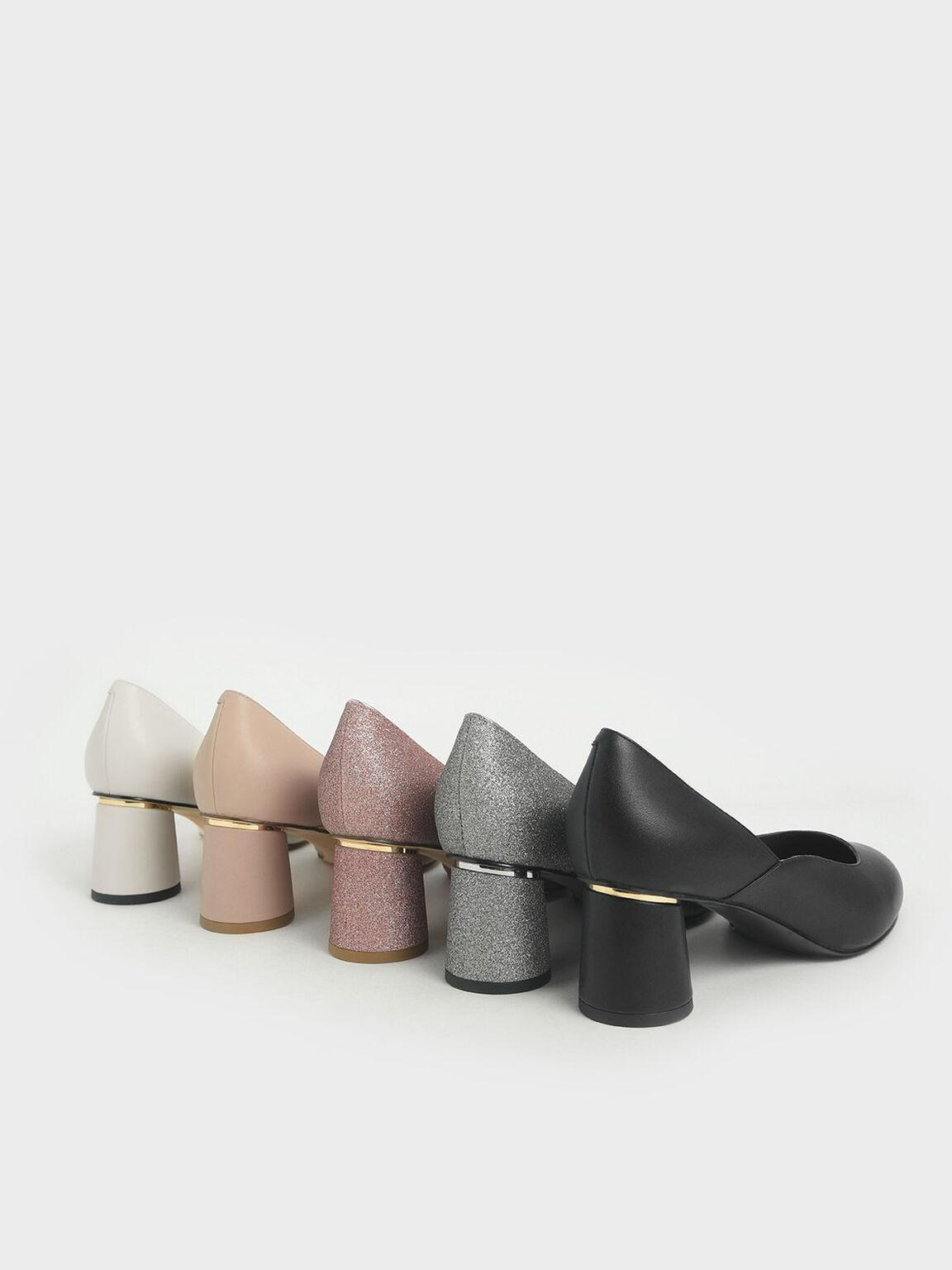 Cylindrical Heel Pumps, Black, hi-res