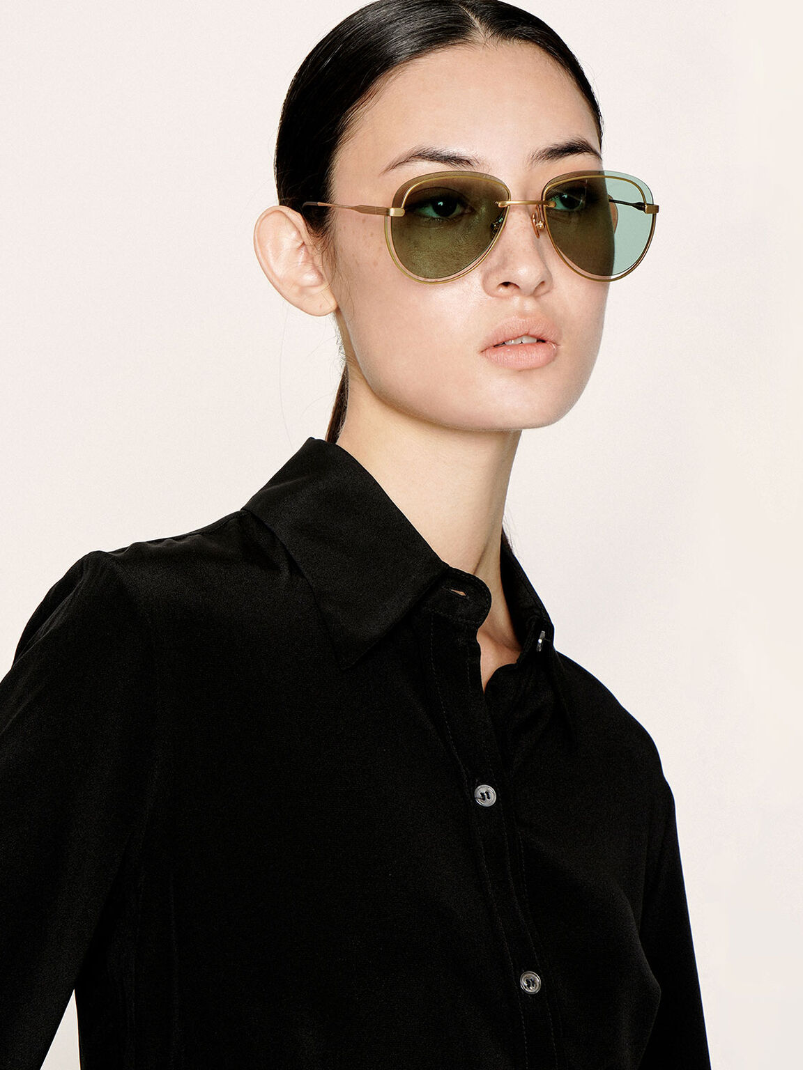 Cut-Out Tinted Sunglasses, Green, hi-res