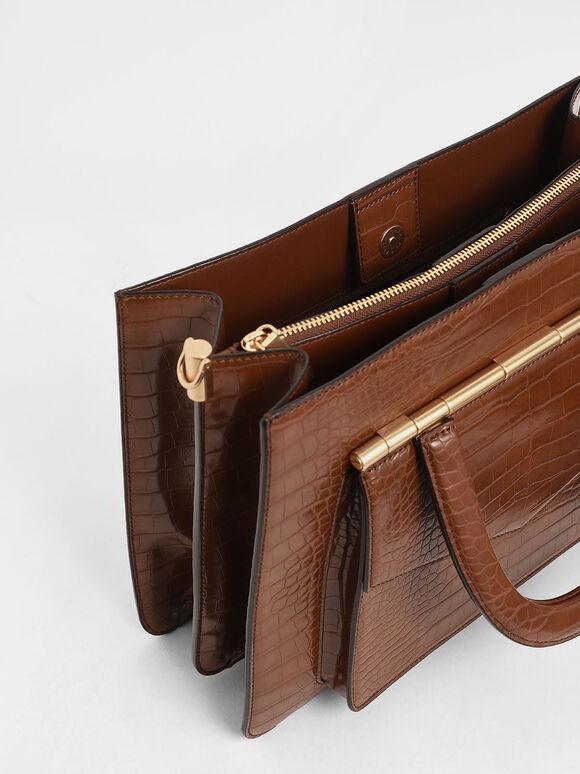Croc-Effect Structured Tote Bag, Dark Brown, hi-res