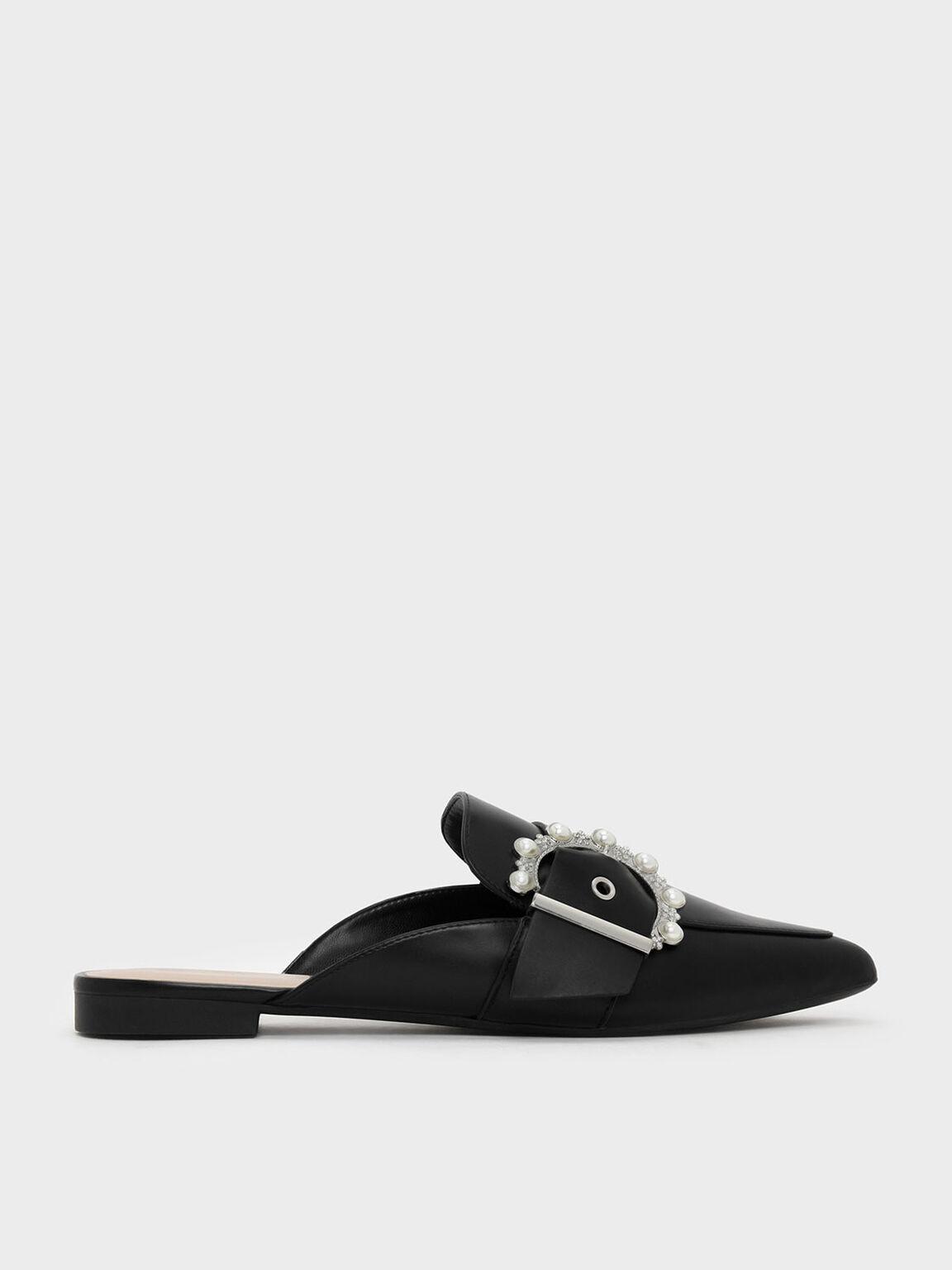 Pearl Detail Buckle Slip Ons, Black, hi-res