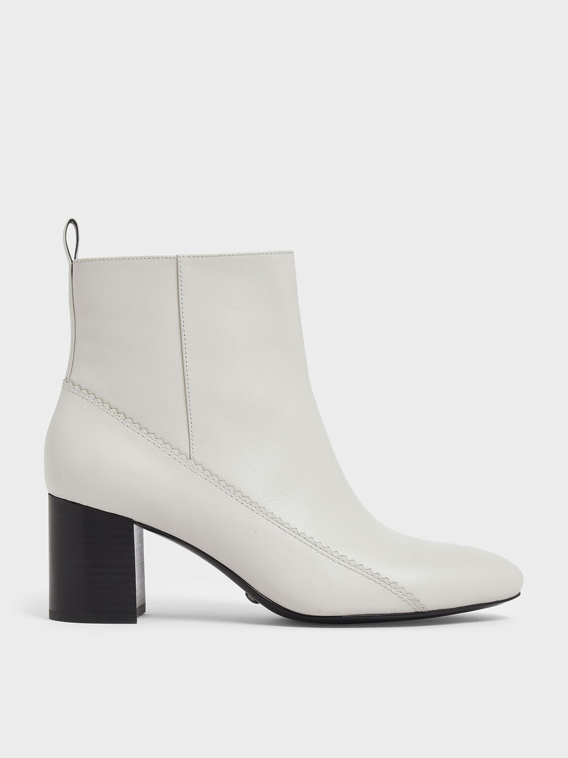 Zigzag Detail Zip-Up Leather Ankle Boots, Chalk, hi-res