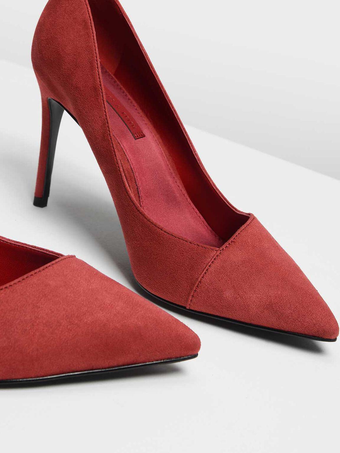 Asymmetrical Cut Stiletto Pumps, Red, hi-res