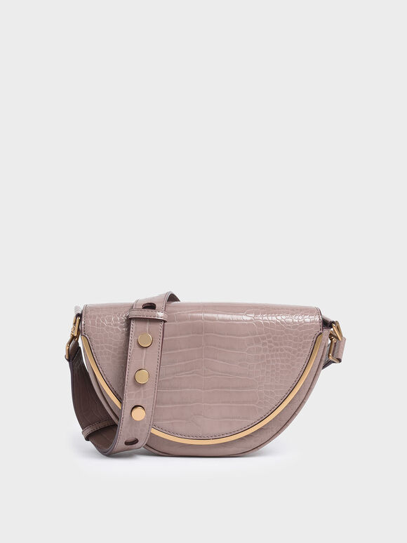 Croc-Effect Semi-Circle Crossbody Bag, Mauve, hi-res